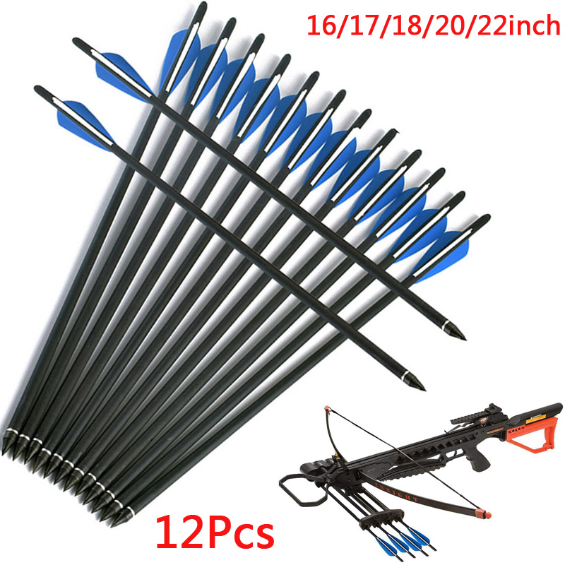 Archery 16 17 18 20 22inch Carbon Crossbow Arrows 2 Blue 1white 4