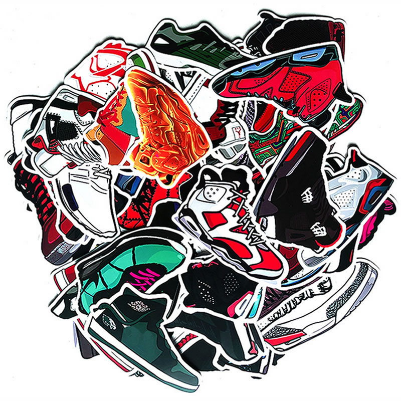 60pcs Pack Basketball Sneakers Stickers Waterproof PVC Skateboard Suitcas Water Bottle Motorcycle Phone Stickers Kid Classic Toy