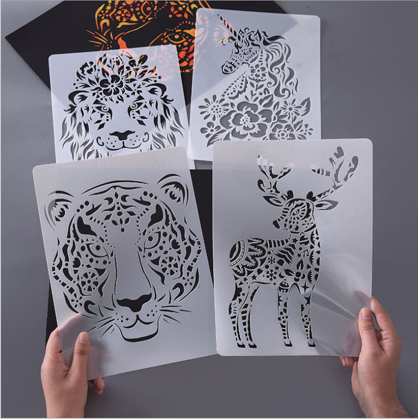 A4 29 * 21cm Many Creative Animal DIY Stencil Wall Painting Scrapbook Coloring Photo Album Decorative Paper Card Template