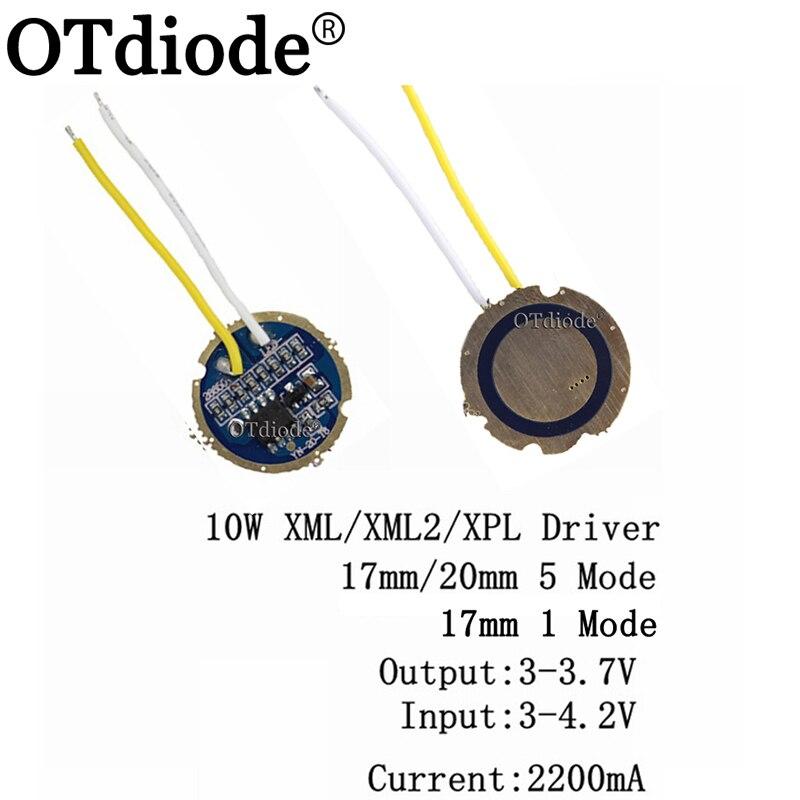 1-10 шт. cree xml led xml2 led T6 U2 драйвер 17 мм 20 мм 2,7-4,2 в 2-а 5-режимный/1 Режим светодиодный драйвер для светодиодного Излучателя CREE XML