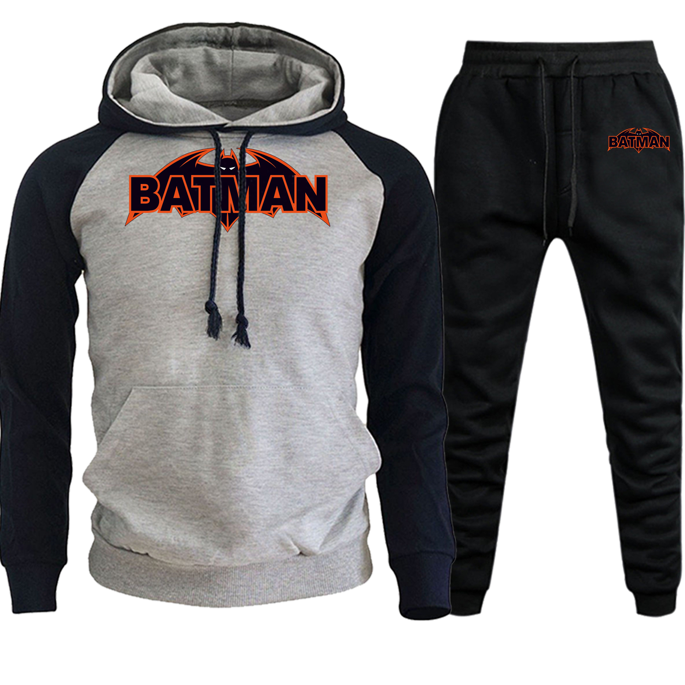 Batman Autumn Winter 2019 Streetwear Men Raglan Hoodie Superhero Print Suit Male Fleece Pullover Hip Hop Hoody+Pants 2 Piece Set