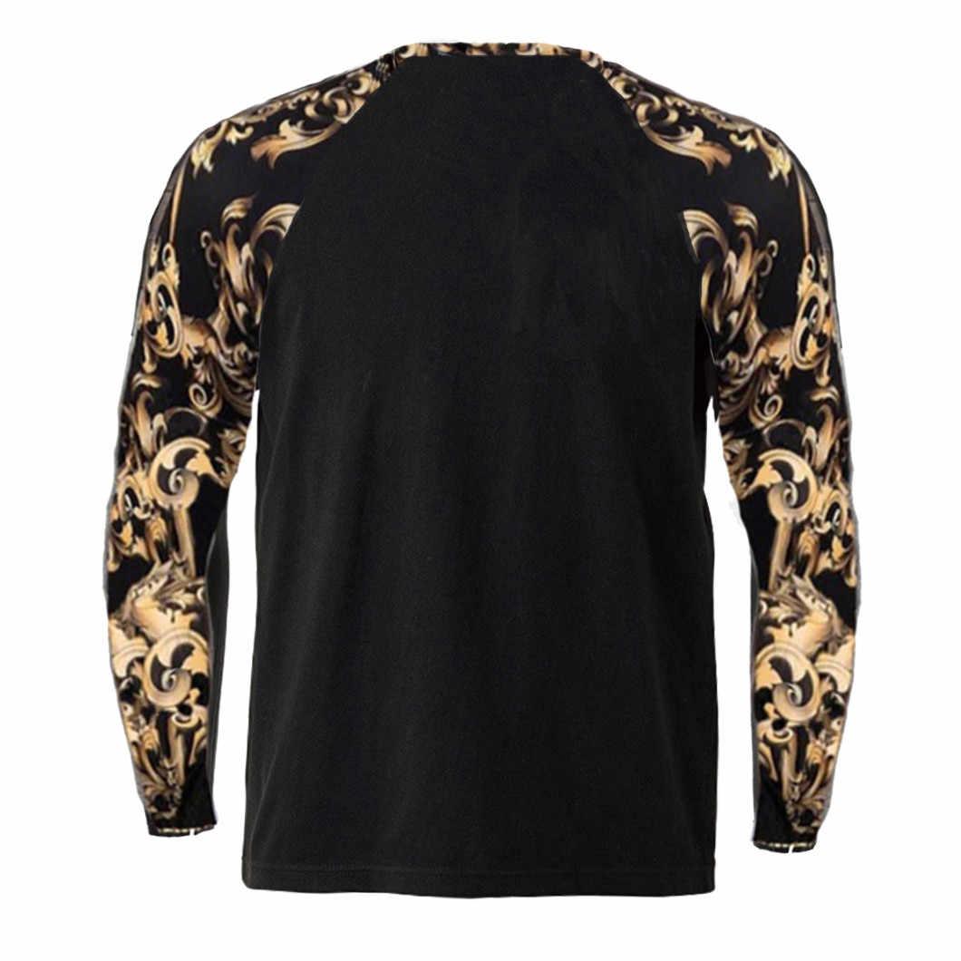 남성 t 셔츠 레오파드 스티치 프린트 패션 슬림 탑 남성 긴팔 탑 패치 워크 맨 Streetwear Shirt Top Chemise Homme