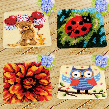 4 Models Latch Hook Kits for Kids Beginners DIY Cushion Rug Carpet Embroidery with Pattern Printed
