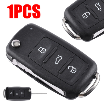 3 Button Folding Car Remote Flip Key Shell Case Fob NO LOGO for V-W Auto Ignition System With Key Blade