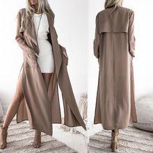 цена 2019 Trench Autumn New Lapel Split Khaki Long-sleeved Women's Trench Pockets Fashion Plus Size Cardigan Long Office Lady Coat X онлайн в 2017 году