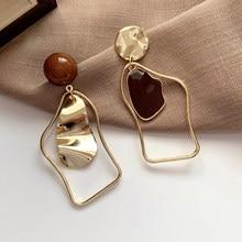 Винтажные металлические нерегулярные серьги-капли для женщин 2021 геометрические массивные серьги Модные ювелирные изделия Свадебные аксес...