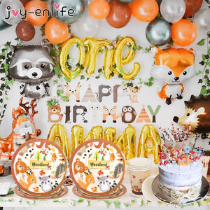 Woodland Animal Cake Toppers Jungle Forest Little Animal paper plates cups for Kids Birthday Party Decorations Dessert Supplies