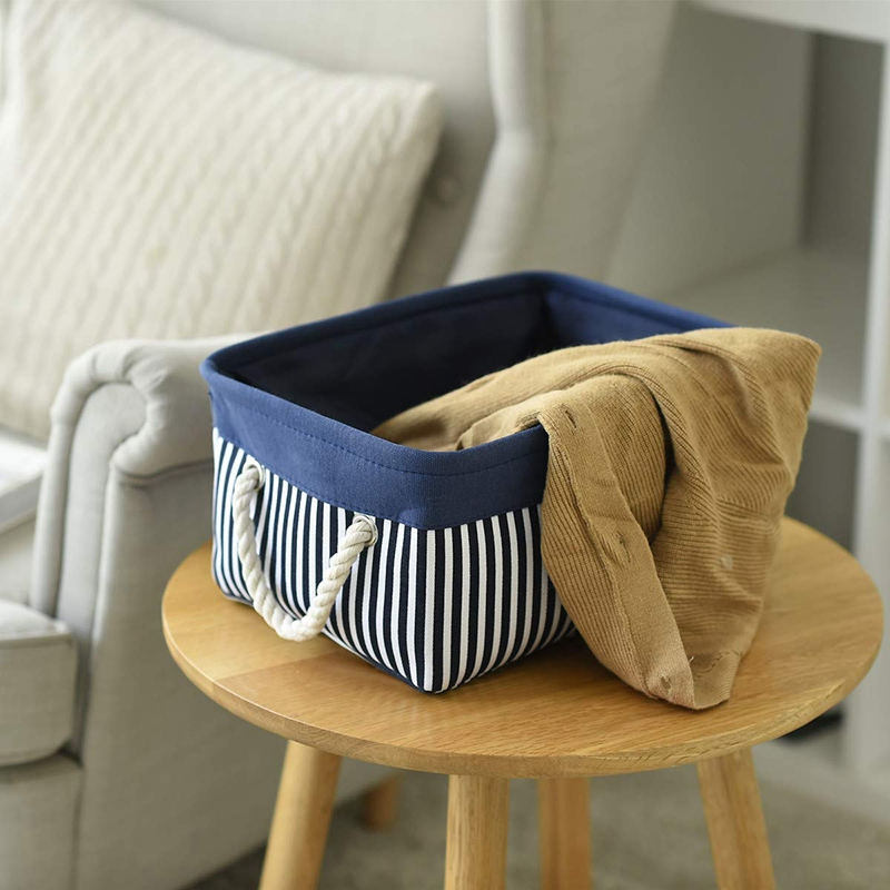Fabric Nautical Basket For Storage,Collapsible Canvas Storage Bins Containers Organizing Basket For Gifts Empty,Shelves, Closet,