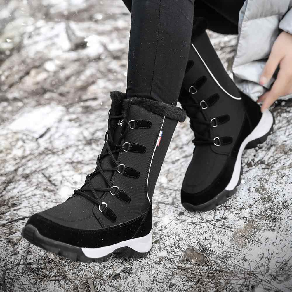 נשים חורף מגפי 2019 חדש אופנה עמיד למים בד שחור נשים נעליים חמה חם קטיפה נעלי נשים אמצע עגל Botas נעליים