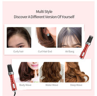 New 3 in1 Electric Hair Curler Hair Dryer Ionic Flat Iron Fast Heated Comb Hair Styling Brush Comb Volumizer Hot Air Brush Hair 6