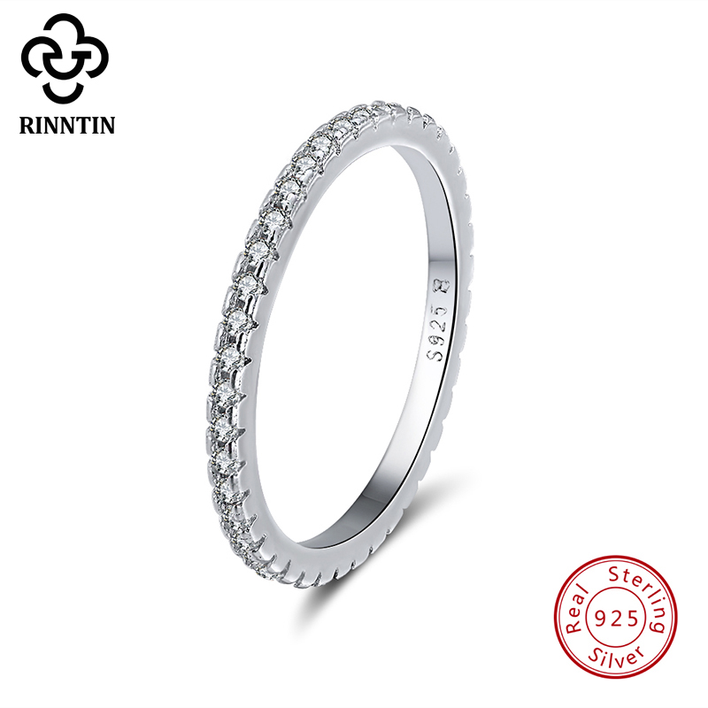 Rinntin 925 Sterling Silver Women Classic Finger Rings Cubic Zircon Female Wedding Engagement Eternity Rings Jewelry TSR63