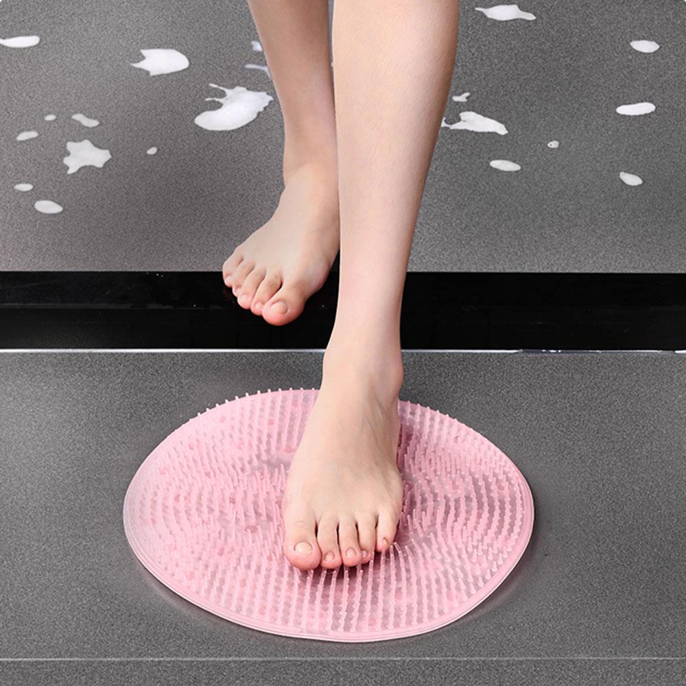 Tapete cepillo de cojín redondo de silicona para masaje de baño