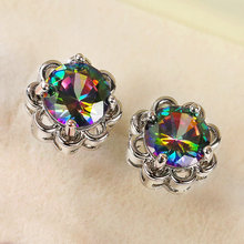 Huitan Vintage Flower Stud Earrings Women Party Multicolor Cubic Zirconia Delicate Female Earrings Versatile Statement Jewelry