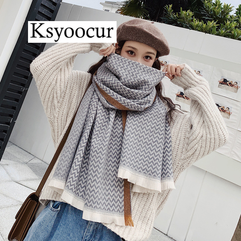 Size 190*65cm, 2020 New Autumn/Winter Long Section Cashmere Fashion Scarf Women Warm Shawls And Scarves Brand Ksyoocur E25