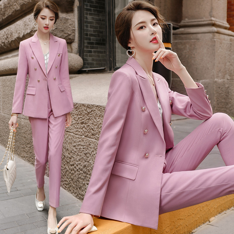 Female Office Work Formal Long Pant Suit Women's Suit Business Lady Uniform 2 Piece Set Blazer Trouser Jacket Suits Plus Size 5X