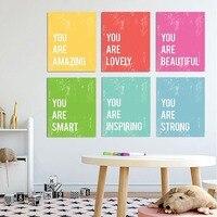 ملصقات ملونة مع عبارات إنجليزية ملهمة ، لوحة قماشية ، لوحة طاقة إيجابية تحفيزية ، جدار ، الفصل الدراسي ، غرفة الأطفال