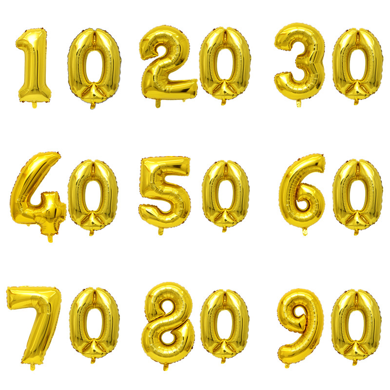 32 Inch Gold Digit Balloons 10 20 30 40 50 60 <font><b>70</b></font> 80 90 Years Adult Old <font><b>Birthday</b></font> Party Wedding Anniversary DIY Ballons <font><b>Decoration</b></font> image