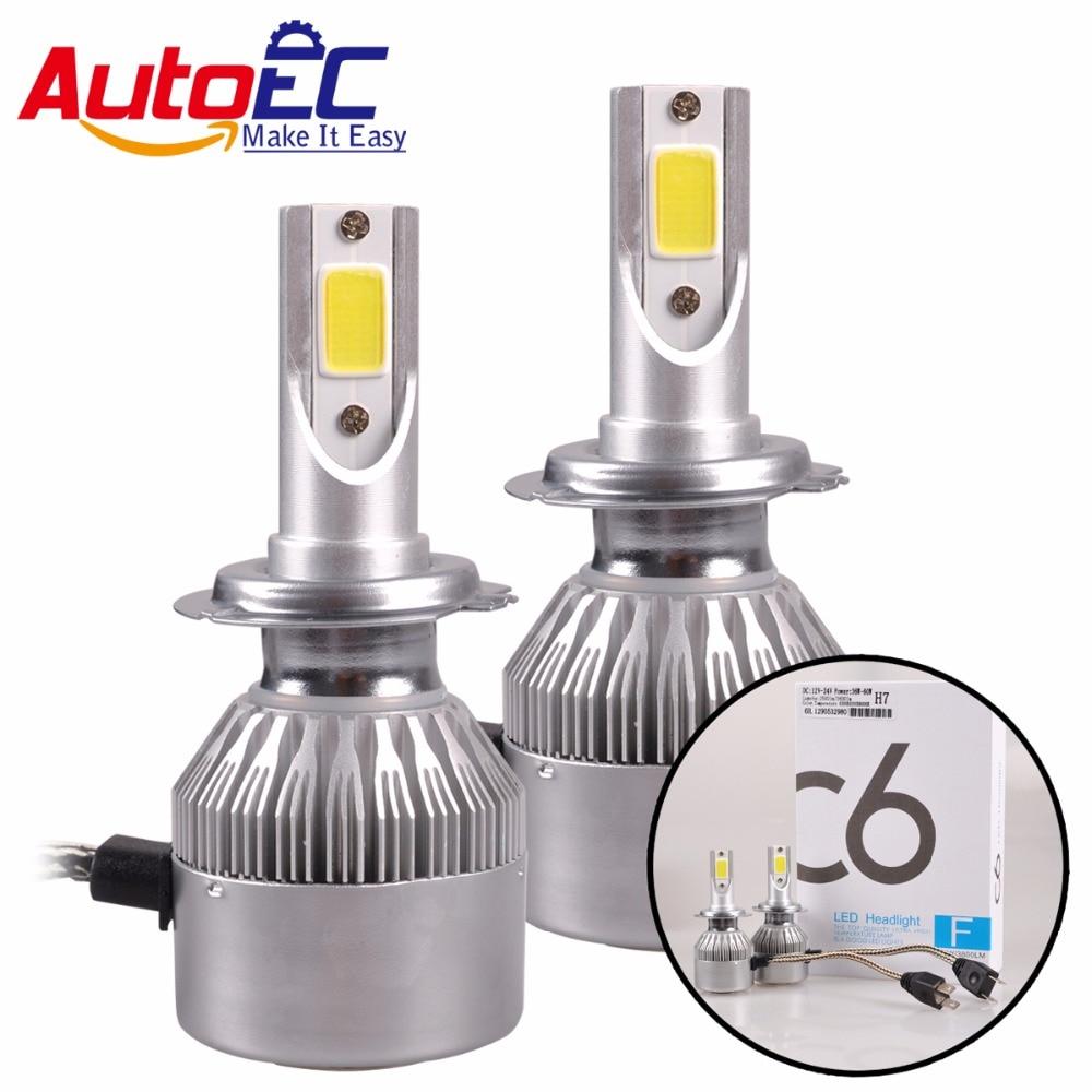 AutoEC 1 sada 36W vysoce jasný COB C6 LED světlomet 2500 / 3600LM H4 H7 H11 H13 9005 9006 9004 9007 880 Auto LED žárovka Žárovka # LN62