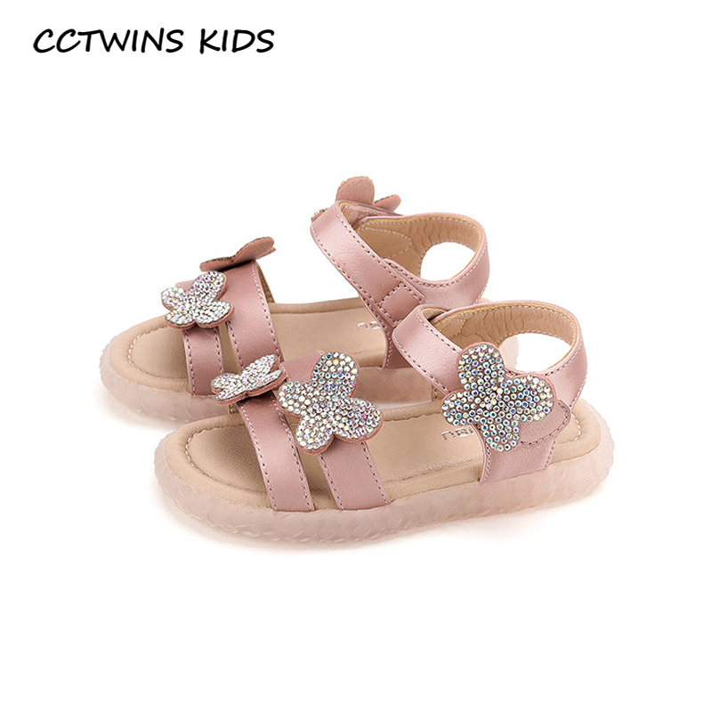 CCTWINS Kids Shoes 2020 Summer Children Butterfly Shoes Baby Girls Fashion Princess Sandals Toddler Pu Leather Flat PS859
