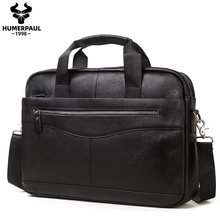 Briefcase Messenger-Bags Tote Laptop Business Travel Office Male Genuine-Leather Men's