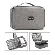Caso eletrônico portátil dos acessórios do saco de transporte do curso, bolsa da engrenagem do organizador do cabo da dupla camada para cabos, flash de usb, carregadores