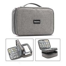 Seyahat taşıma çantası taşınabilir elektronik aksesuarları durumda, çift katmanlı kablo düzenleyici dişli çanta kabloları, USB bellek, şarj