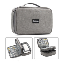 Travel Carrying Bag Portable Electronic Accessories Case,Double Layer Cable Organizer Gear HandBag for Cables,USB Flash,Chargers