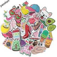 50pcs Pink Cartoon VSCO Girl Stickers Childrens Toys Waterproof DIY Portable Suitcase Bicycle Helmet Car Decals