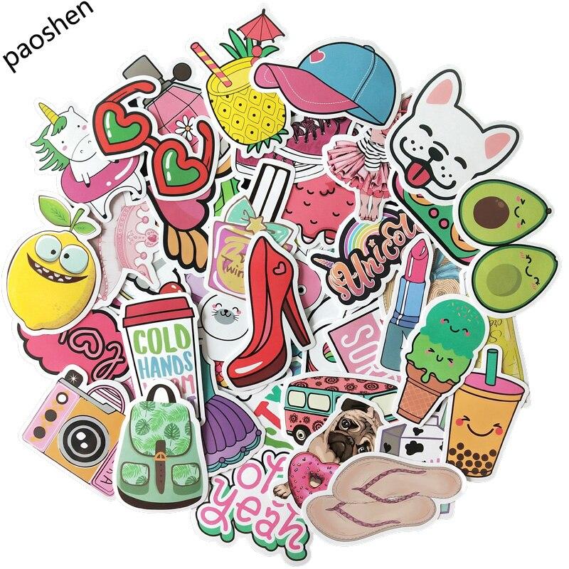 50pcs Pink Cartoon VSCO Girls Stickers Children's Toys Stickers Waterproof DIY Portable Suitcase Bicycle Helmet Car Decals