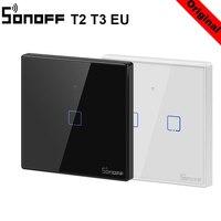 Sonoff t3 t2eu tx inteligente wifi interruptor de toque de parede com fronteira casa inteligente 1/2/3 gang 433 rf/voz/app/controle toque trabalho com alexa|Módulos de automação residencial| |  -