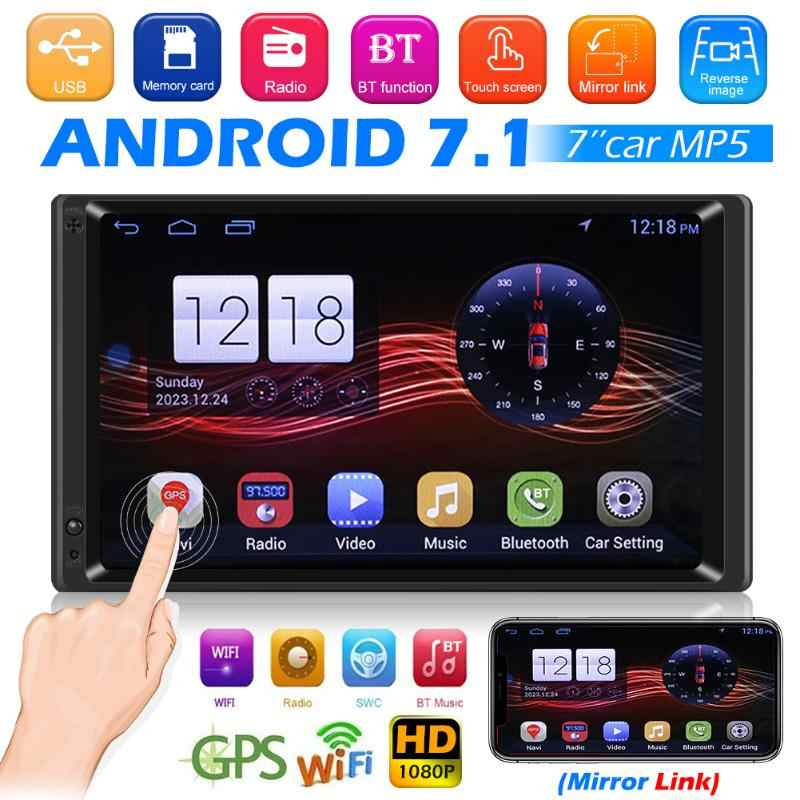 """Android 7.1 Car Stereo GPS Navigation Bluetooth Radio Player Double Din WIFI 7/"""""""