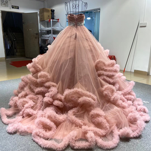 Image 2 - J6662 Jancember מרובה צבע שמלת ערב 2020 sashes מתוקה עם שרוולים קריסטל לפרוע תחרה עד בחזרה
