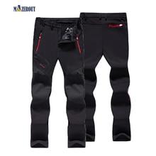 MAZEROUT Oversized Elastic Waterproof Men Casual Winter Thick Warm Fleece Softshell Trousers Male Windbreaker L-9XL Belt