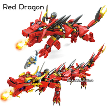 Compatible Ninjagoes Kais Flying Red Ninja Dragon Mech Set 2in1 Figures Educational Building Blocks Toys For Children Gifts