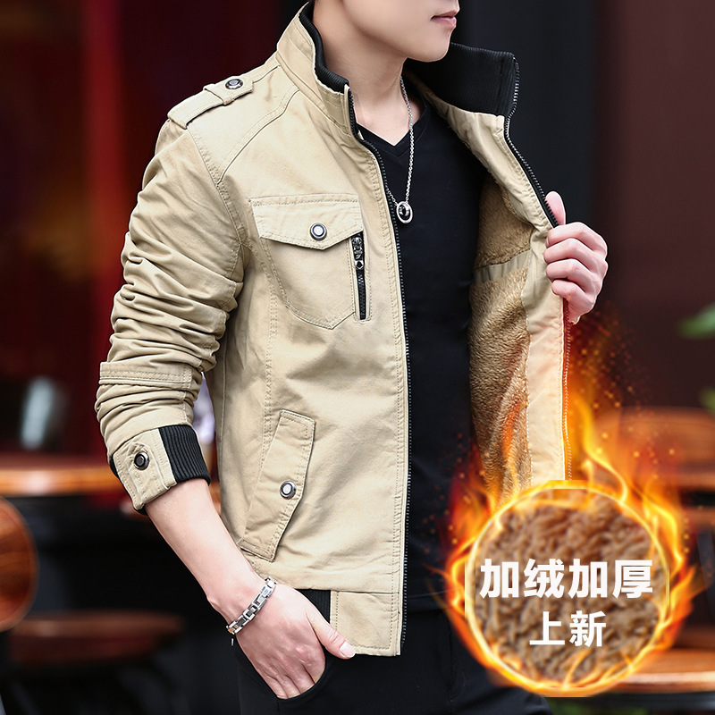 New Style 2018 Jacket Men's Autumn & Winter Youth Korean-style Warm Handsome Versatile Casual Brushed And Thick MEN'S Coat