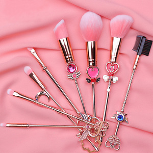 Card Captor Sakura Sailor Moon Pretty Cute Makeup Tool Brush 8pcs/Set Blush Eye Shadow Concealer Cosplay Christmas Gift for Girl