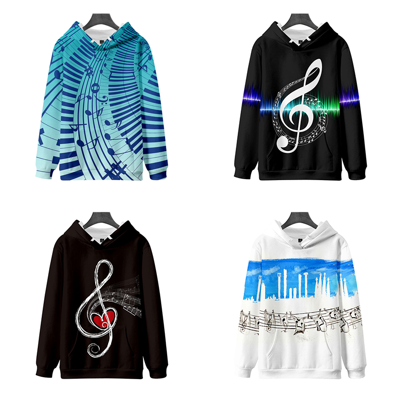 New Fashion Hip Hop Print Music Note 3d Hoodies Pullover Costume Men Women Hoodie Long Sleeve Harajuku 3D Hooded Sweatshirt Tops