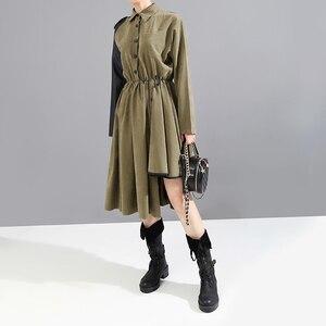 Image 5 - ארוך שרוול צבא ירוק אישה 2020 חורף Midi חולצה שמלת PU Sashes טלאים סימטרי גבירותיי אופנתי המפלגה שמלת סגנון 5698