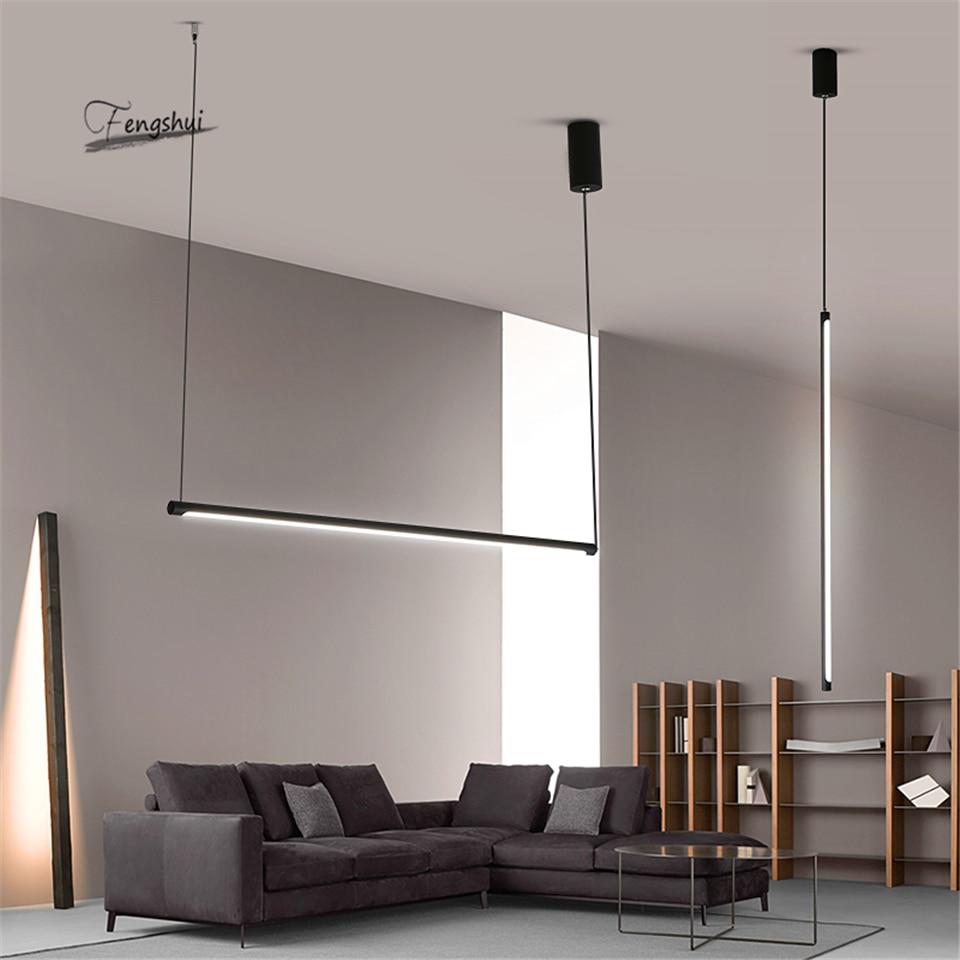 Linha moderna led luzes pingente restaurante loft escurecimento luminária quarto sala de estar pendurado cozinha luminárias iluminação|Luzes de pendentes| |  - title=