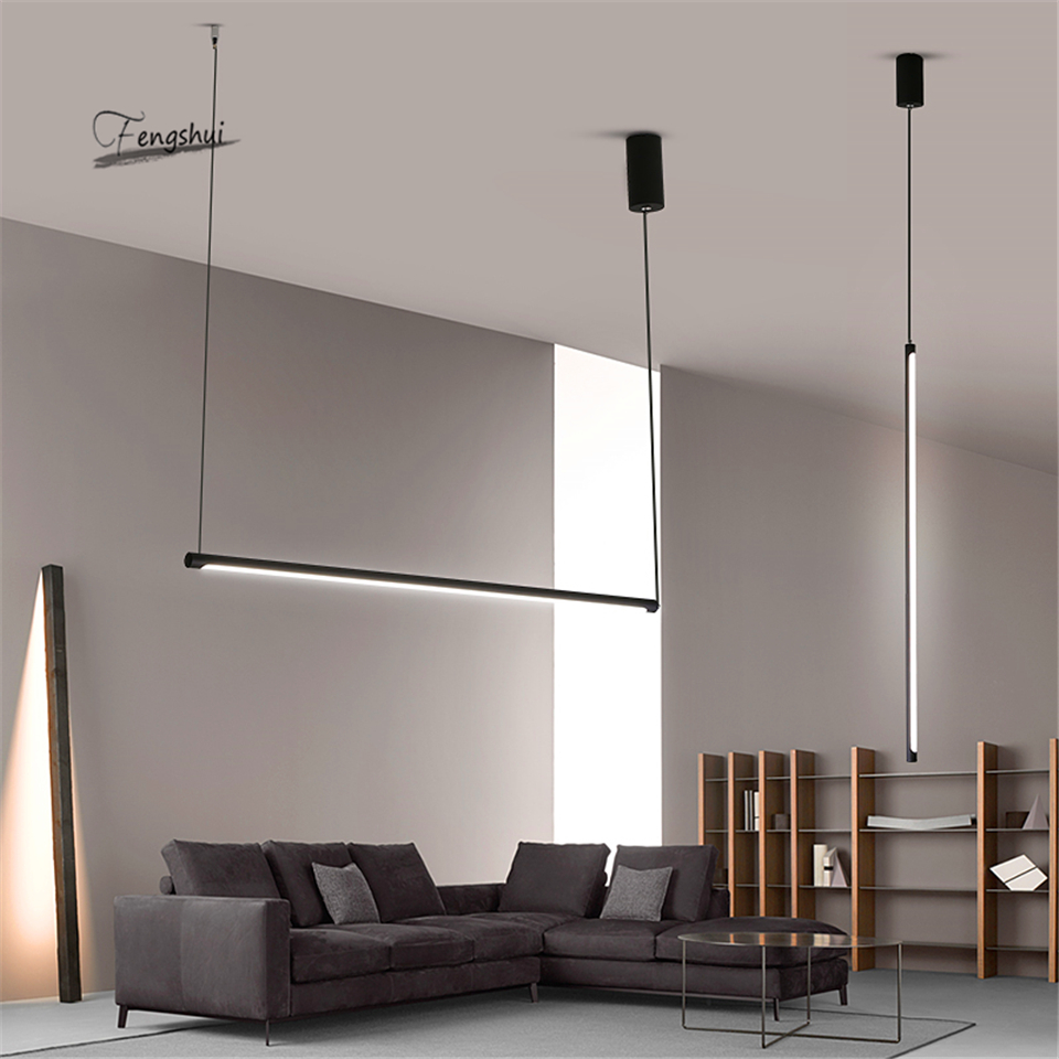 Modern Line LED Pendant Lights Restaurant Loft Dimming Pendant Lamp Bedroom Living Room Hanging Lamp Kitchen Fixtures Lighting