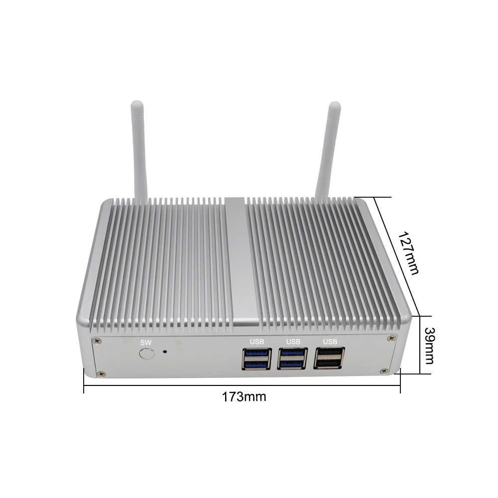 بدون مروحة جدار الحماية جهاز كمبيوتر صغير ويندوز 10 AES-NI إنتل N3160 3150 رباعية النواة 2 * Lans 2 * HDMI PfSense راوتر OpenVPN باربون الكمبيوتر