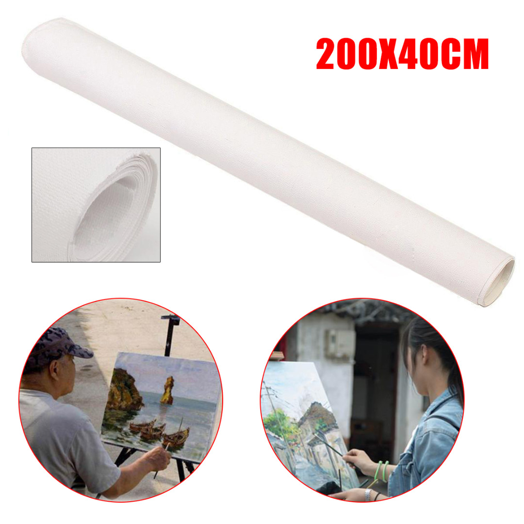 200x40cm Stretched Artist Blank Canvas Roll For Painting Cotton Oil Painting Canvas Art Supplies For School Students Practice image