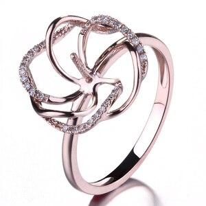 Image 2 - HELON Solido 14K Rose Gold Pave Diamante Naturale Cerimonia Nuziale Di Aggancio Semi Anello di Supporto Impostazione Donne Gioielleria Raffinata fit 8  11 millimetri Perla