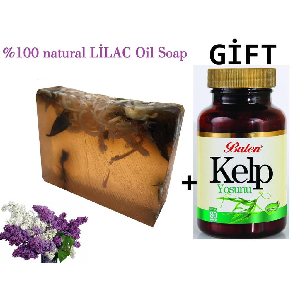 (gift Items)HANDMADE LILAC Essential Oil 100gr Soap+Gift Food Supplement Organic Herbal Selenium Spirulina Powder Kelp Extract
