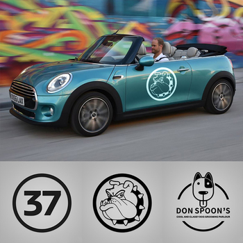 2pcs Bulldog number 37 Car Sticker Decals For Mini Cooper One S JCW Countryman Clubman F55 F56 R55 R56 R60 F60 Car Accessories engine cover trunk cover line car stickers and decals car styling for mini cooper clubman f55 f56 sticker decoration accessories