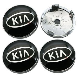 Image 3 - 4Pcs 60mm 56mm 로고 기아 자동차 휠 센터 허브 캡 배지 스티커 자동차 휠 방진 커버 데칼 자동차 스타일링 Accessorie