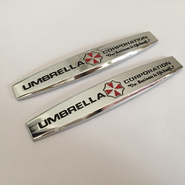 2 шт., значок-эмблема «UMBRELLA CORPORATION» для боковых крыльев автомобиля