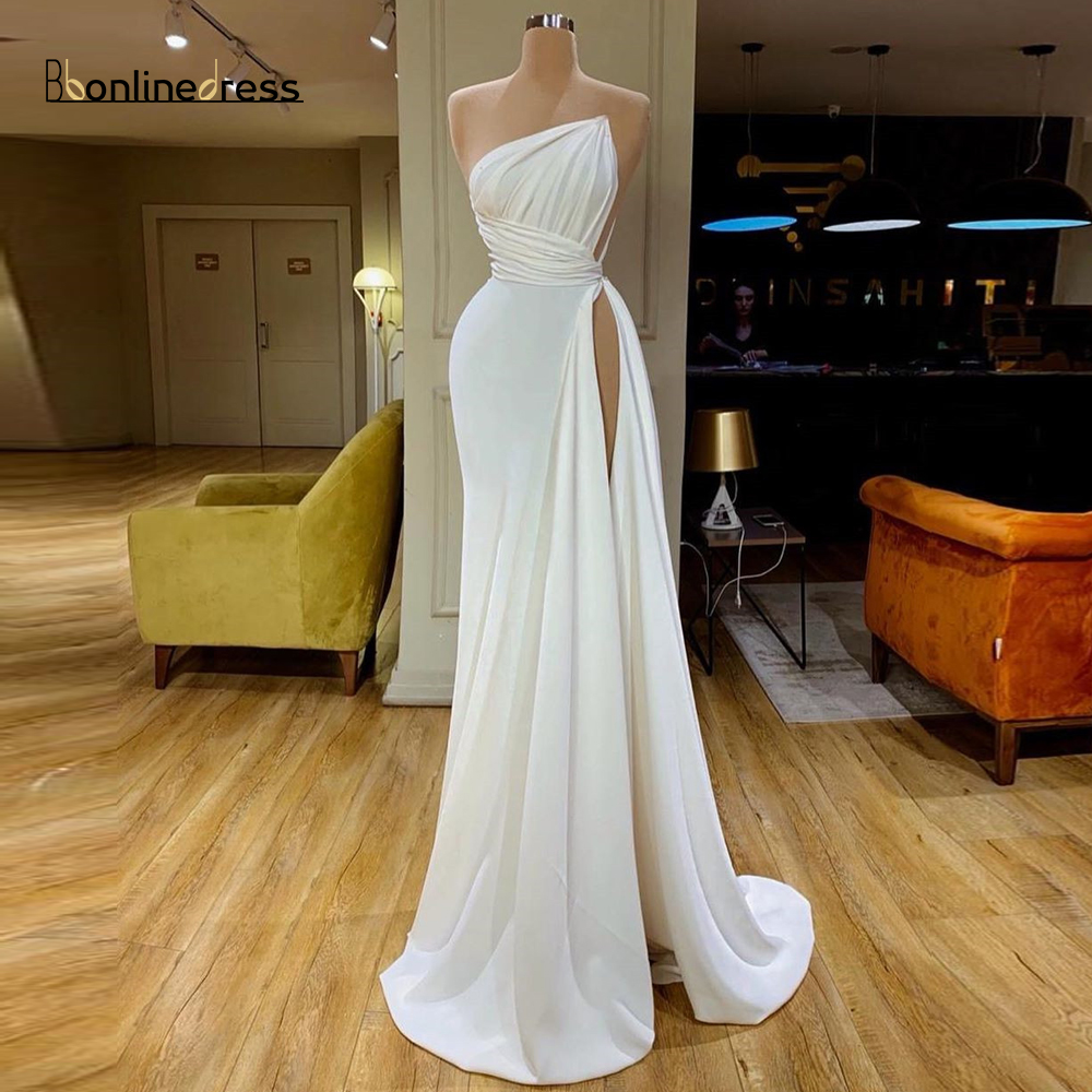 New Listing Elegant White Long Evening Dress Sleeveless Floor Length Evening Dresses High Split Fomal Gowns Party Dress title=