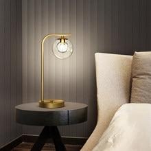 Ouro moderno lustre lâmpada de mesa cobre cristal decoração luz para sala estar quarto cabeceira bola vidro da noite lâmpada leitura