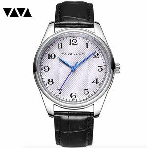 Image 1 - Мужские кварцевые часы с синими указателями, мужские часы с узором в клетку, черные, коричневые кожаные водонепроницаемые спортивные часы, мужские часы в подарок